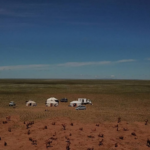 View over Gobi desert pasture