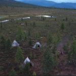 View over autumn camp in Western Taiga