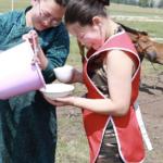 Drinking fresh mare's milk